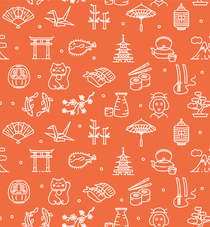japanese culture: Japan Background Seamless with Icons Outline on Red. Vector illustration