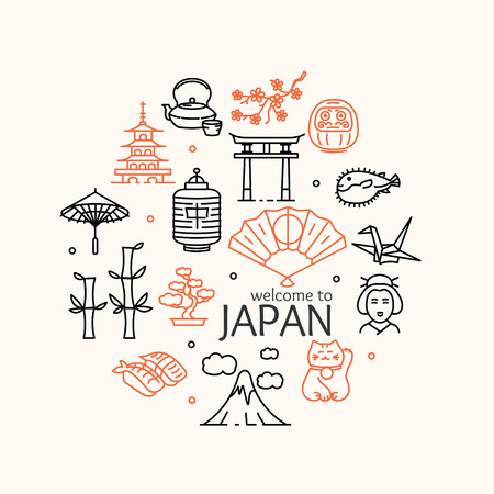 Japan Concept Travel. Welcome to Country. Vector illustration