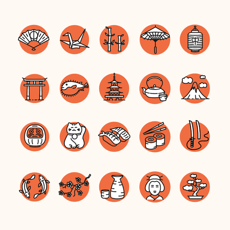 travel icon: Japan Icon Set on Red Round Button. Vector illustration