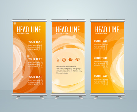 Roll Up Banner Stand Design Template On Orange Background. Vector illustration