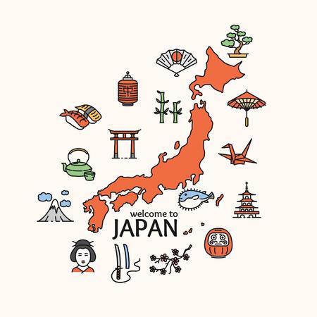 일본 개념 여행입니다. 국가의지도. 포스터. 벡터 일러스트 레이 션