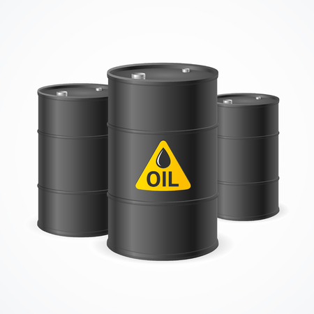 flammable materials: Black Oil Barrel Drums with Labels. Vector illustration