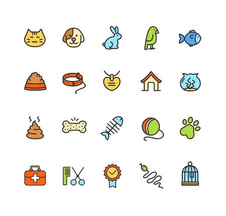 shit: Pet Web Icon Colorful Set. Vector illustration