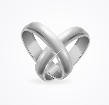 anillo de boda: Anillo de bodas de plata en blanco. ilustración vectorial