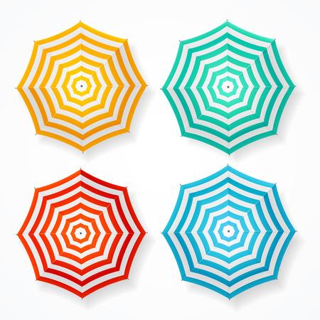 sun umbrella: Striped Sun Umbrella Set on White. Vector illustration