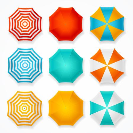 Ensemble parapluie coloré de soleil. Vue de dessus Illustration vectorielle