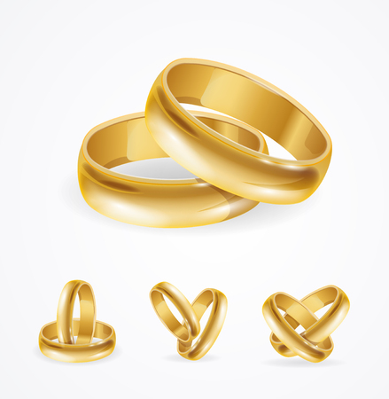 Wedding Gold Ring Set in Pair. Vector illustration