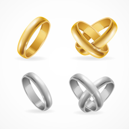 anillo de boda: Bodas de oro y anillo de plata Set. ilustración vectorial