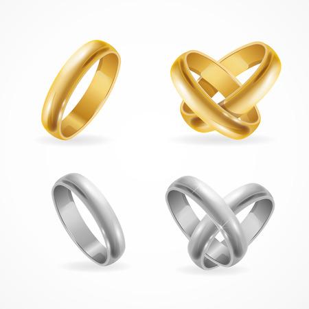 Oro di cerimonia nuziale e set di anelli d'argento. Illustrazione vettoriale
