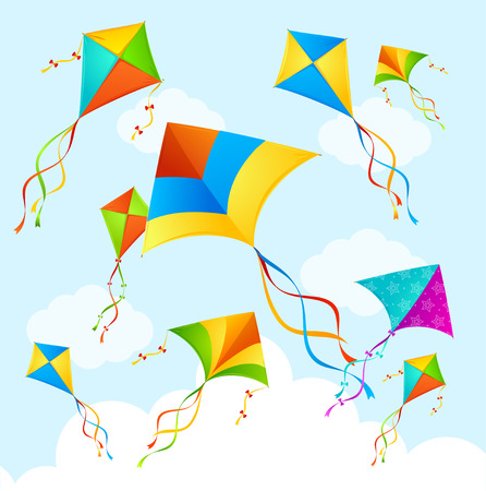 flying kite: Colorful Flying Kite on Sky Background. Vector illustration Stock Photo
