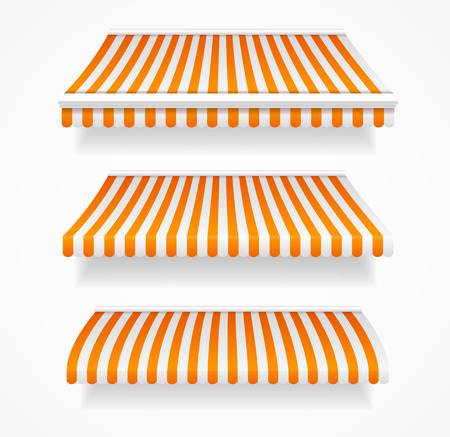 awnings: Striped Colorful Awnings Set for Shop.