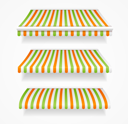 awnings: Striped Colorful Awnings Set for Trade.