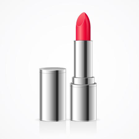 lipstick tube: Red Lipstick. Open Silver Tube. Vector illustration