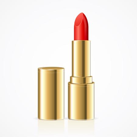 red lipstick: Red Lipstick. Open Golden Tube. Vector illustration Illustration