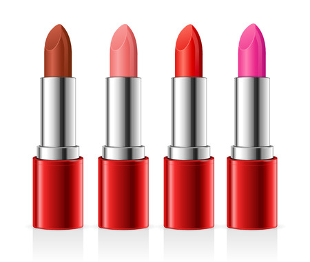 red tube: Realistic Lipstick Set. Red Tube. Vector illustration