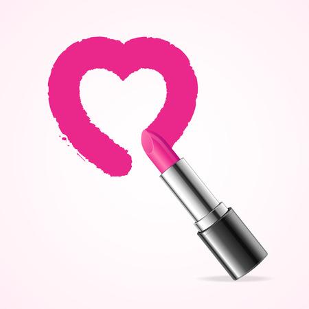 Form Herz mit rosa Lippenstift. Vektor-Illustration