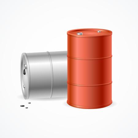 oil color: Blank Color Oil Barrel Drums. Vector illustration