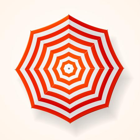 Rote gestreifte Sonnenschirm. Top View. Vektor-Illustration