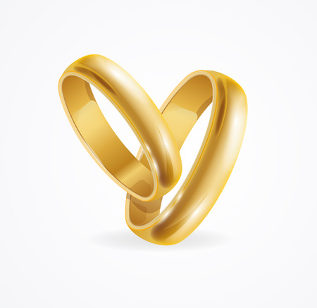 rich couple: Wedding Gold Ring with Reflection. Symbol Of Marriage. Vector illustration
