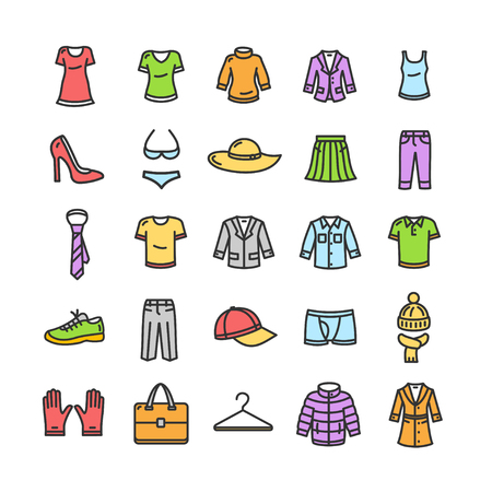 white clothes: Clothes Colorful Icon Set on White.