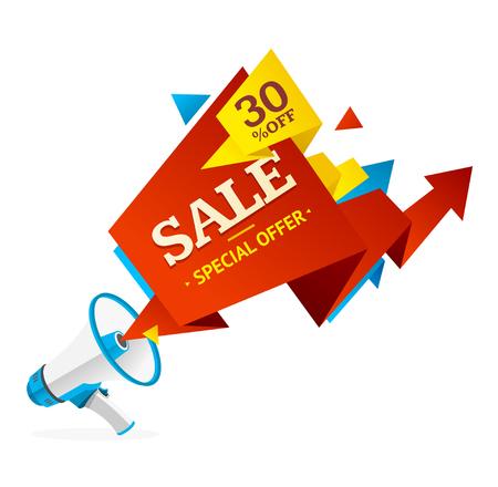 discount banner: Discount Banner Sticker with Megaphone .