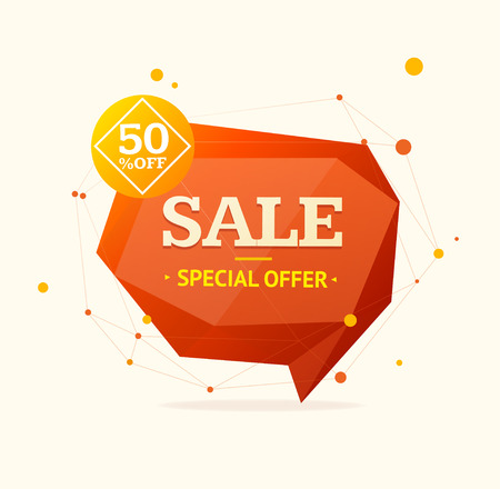 advertisements: Discount Banner Sticker with Red Abstract Geometric Bubble . Vector illustration