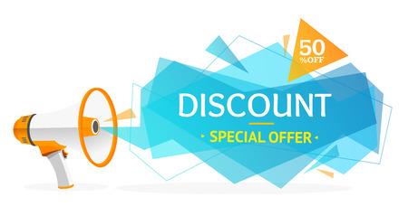 Discount Banner Sticker Met Megafoon. Concept van advertenties. Vector illustratie Stock Illustratie