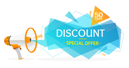 Discount Banner Sticker with Megaphone. Concept Of Ads. Vector illustration
