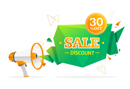 sale sticker: Discount Banner Sticker with Megaphone. Concept Sale. Vector illustration
