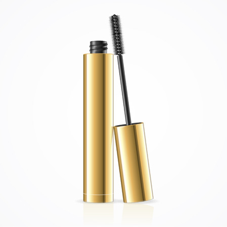 Black Mascara. Open Golden Tube. Vector illustration Stock Illustratie