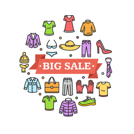 sale icons: Big Sale Concept with Colorful Clothes Icons. Vector illustration Illustration