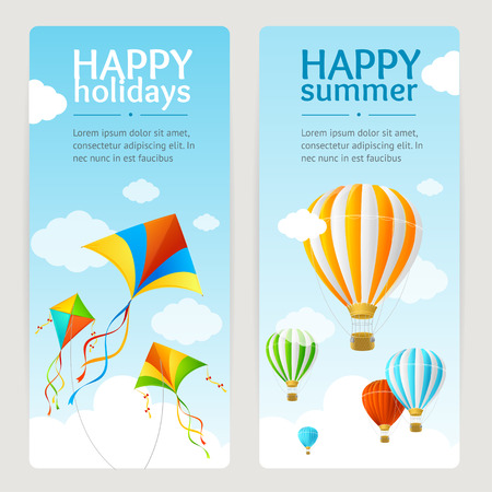 summer holiday: Summer Holiday Card Set with Kite and Balloon. Vertical. Vector illustration