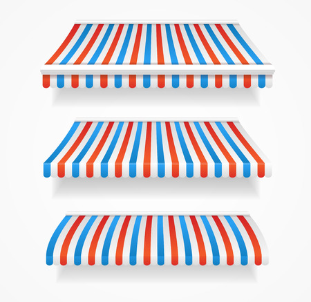blue stripes: Striped Colorful Awnings Set. Three Types. Vector illustration