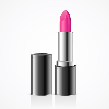 lipstick tube: Pink Lipstick. Open Black Tube. Vector illustration Illustration