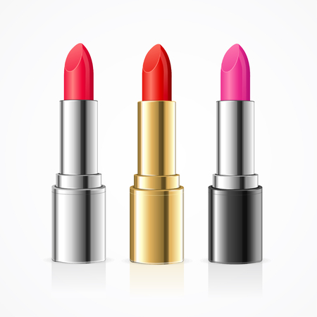 Realistic Lipstick Set. Variants of Tube. Vector illustration