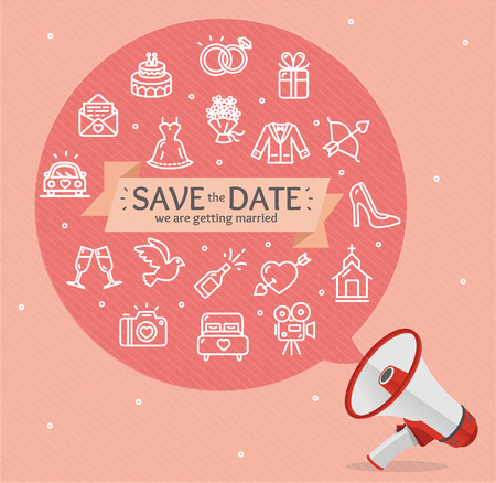 illustration invitation: Wedding Invitation Card Template with a Megaphone.. Vector illustration