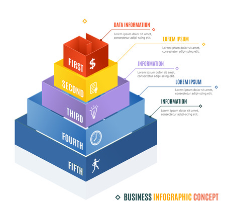 pyramid shape: Business Infographic Concept. Pyramid Shape. Vector illustration