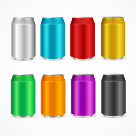 canned drink: Color Cans Set on a White Background. Vector illustration