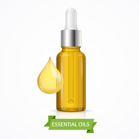 vial: Dropper Essential Oil Bottle with Drop. Vector illustration