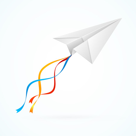 airplain: Paper Airplain White with Ribbons. Vector illustration