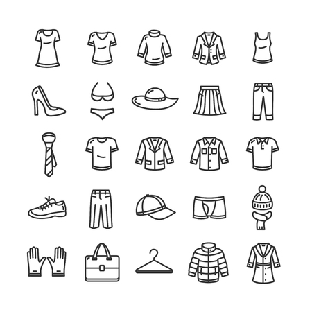 Clothes Outline Icon Set. Black and White Vector illustration