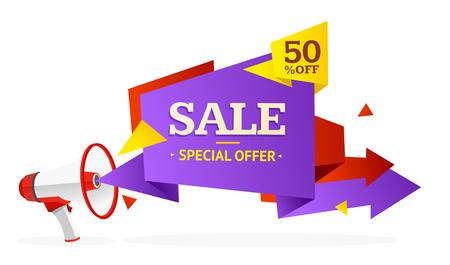 discount banner: Discount Banner Sticker with Bullhorn. Vector illustration