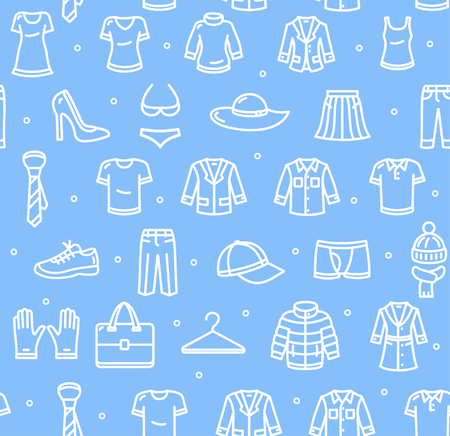 blue icon: Shopping Background Pattern on Blue. Vector illustration