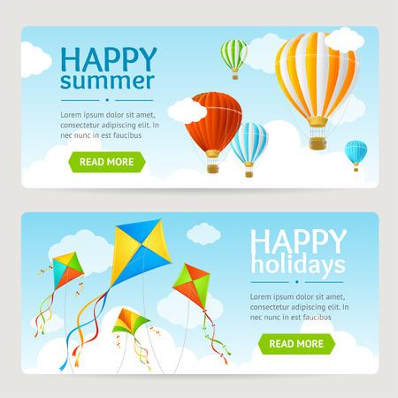 paper kite: Summer Holiday Card Set with Kite and Balloon. Horizontal. Vector illustration Illustration