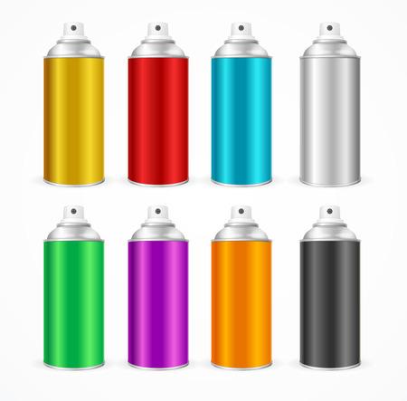 productos quimicos: Aerosol para latas de aluminio plantilla en blanco. Conjunto colorido. ilustración vectorial
