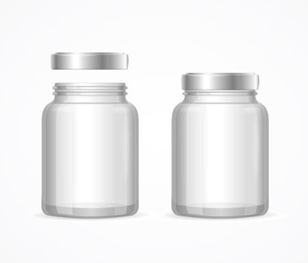 pots: Glass Jars Bottles Empty Transparent. Open and Closed. Vector illustration