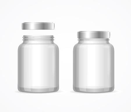 Glazen potten flessen leeg Transparant. Open en Gesloten. vector illustratie