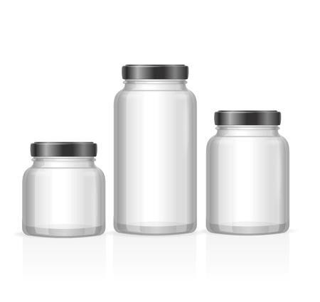 Glazen potten flessen leeg Transparant. Verschillende maten. vector illustratie