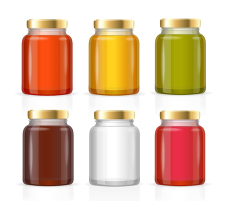 bottle screw: Glass Jars Bottles Empty Transparent Colorful Set. Vector illustration