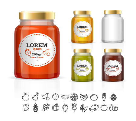 confiture: Glass Jars Bottles with Jam, Confiture, Honey. Vector illustration